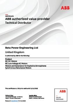 ABB Motors Certificate
